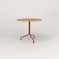 RAD Cafe Table, Round Tube Tripod Base in solid white oak and red powder coat.