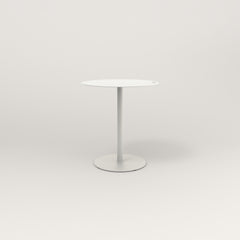 RAD Cafe Table, Round Weighted Base in aluminum and white powder coat.