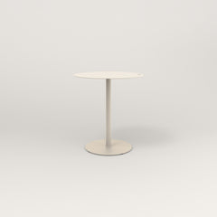 RAD Cafe Table, Round Weighted Base in aluminum and off-white powder coat.