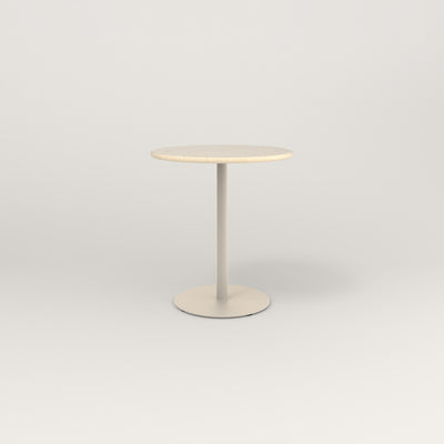 RAD Cafe Table, Round Weighted Base in solid ash and off-white powder coat.