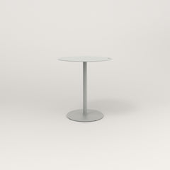 RAD Cafe Table, Round Weighted Base in aluminum and grey powder coat.