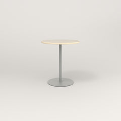 RAD Cafe Table, Round Weighted Base in solid ash and grey powder coat.