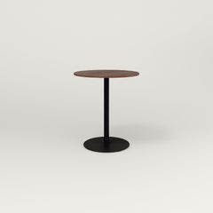 RAD Cafe Table, Round Weighted Base in slatted wood and black powder coat.