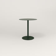 RAD Cafe Table, Round Weighted Base in aluminum and fir green powder coat.