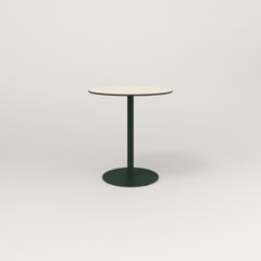 RAD Cafe Table, Round Weighted Base in hpl and fir green powder coat.