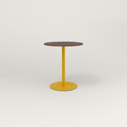 RAD Cafe Table, Round Weighted Base in slatted wood and yellow powder coat.