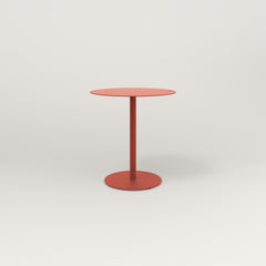 RAD Cafe Table, Round Weighted Base in aluminum and red powder coat.