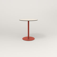 RAD Cafe Table, Round Weighted Base in hpl and red powder coat.