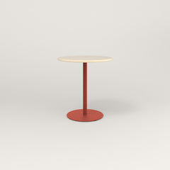 RAD Cafe Table, Round Weighted Base in solid ash and red powder coat.