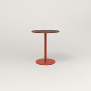 RAD Cafe Table, Round Weighted Base in slatted wood and red powder coat.