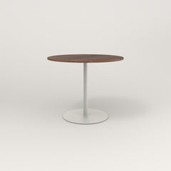 RAD Cafe Table, Round Weighted Base in slatted wood and white powder coat.