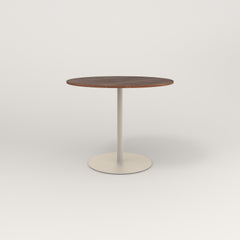 RAD Cafe Table, Round Weighted Base in slatted wood and off-white powder coat.