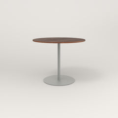 RAD Cafe Table, Round Weighted Base in slatted wood and grey powder coat.