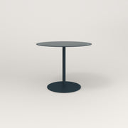 RAD Cafe Table, Round Weighted Base in aluminum and navy powder coat.
