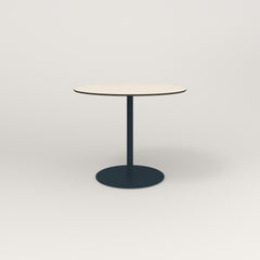 RAD Cafe Table, Round Weighted Base in hpl and navy powder coat.