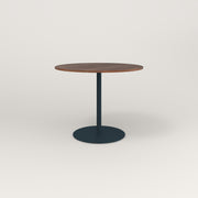 RAD Cafe Table, Round Weighted Base in slatted wood and navy powder coat.