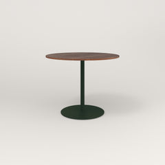 RAD Cafe Table, Round Weighted Base in slatted wood and fir green powder coat.