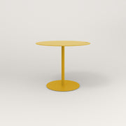 RAD Cafe Table, Round Weighted Base in aluminum and yellow powder coat.