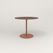 RAD Cafe Table, Round Weighted Base in slatted wood and coral powder coat.
