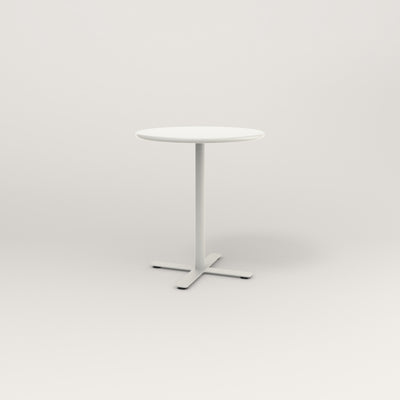 RAD Cafe Table, Round X Base in spun aluminum and white powder coat.