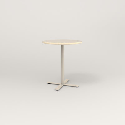 RAD Cafe Table, Round X Base in solid ash and off-white powder coat.