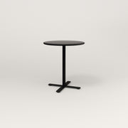 RAD Cafe Table, Round X Base in spun aluminum and black powder coat.
