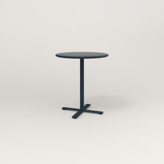 RAD Cafe Table, Round X Base in spun aluminum and navy powder coat.