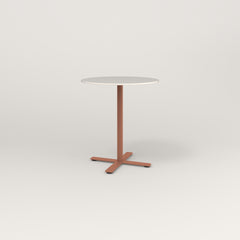 RAD Cafe Table, Round X Base in acrylic and coral powder coat.