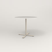 RAD Cafe Table, Round X Base in acrylic and off-white powder coat.