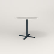 RAD Cafe Table, Round X Base in acrylic and navy powder coat.