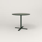 RAD Cafe Table, Round X Base in spun aluminum and fir green powder coat.