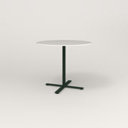 RAD Cafe Table, Round X Base in acrylic and fir green powder coat.