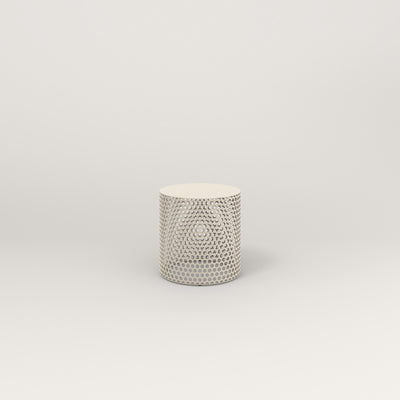 RAD Drum Stool in solid steel and off-white powder coat.