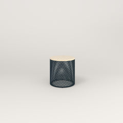 RAD Drum Side Table in solid ash and navy powder coat.