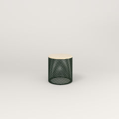 RAD Drum Side Table in solid ash and fir green powder coat.