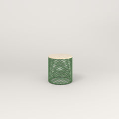 RAD Drum Side Table in solid ash and sage green powder coat.