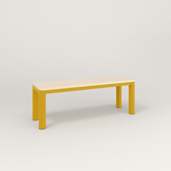RAD Radius Bench in solid ash and yellow powder coat.
