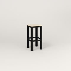 RAD Radius Simple Stool in solid ash and black powder coat.