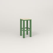 RAD Radius Simple Stool in solid ash and sage green powder coat.