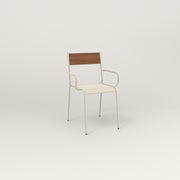RAD Signature Arm Chair in slatted wood and off-white powder coat.