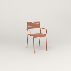 RAD Signature Arm Chair Slatted Steel in coral powder coat.