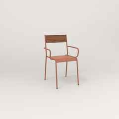 RAD Signature Arm Chair in slatted wood and coral powder coat.
