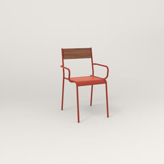 RAD Signature Arm Chair in slatted wood and red powder coat.