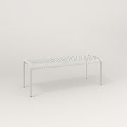 RAD Signature Bent Bench in perforated steel and white powder coat.