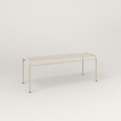 RAD Signature Bent Bench in perforated steel and off-white powder coat.