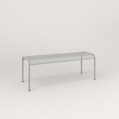RAD Signature Bent Bench in perforated steel and grey powder coat.