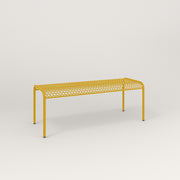 RAD Signature Bent Bench in perforated steel and yellow powder coat.