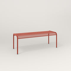 RAD Signature Bent Bench in perforated steel and red powder coat.