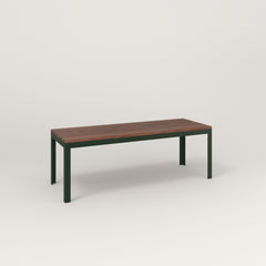 RAD Signature Bench in slatted wood and fir green powder coat.