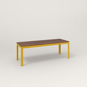 RAD Signature Bench in slatted wood and yellow powder coat.